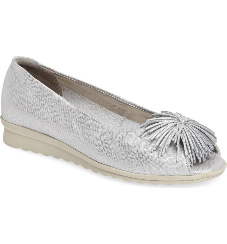 THE FLEXX Boco Loco Peeptoe Flat, Main, color, SILVER LEATHER
