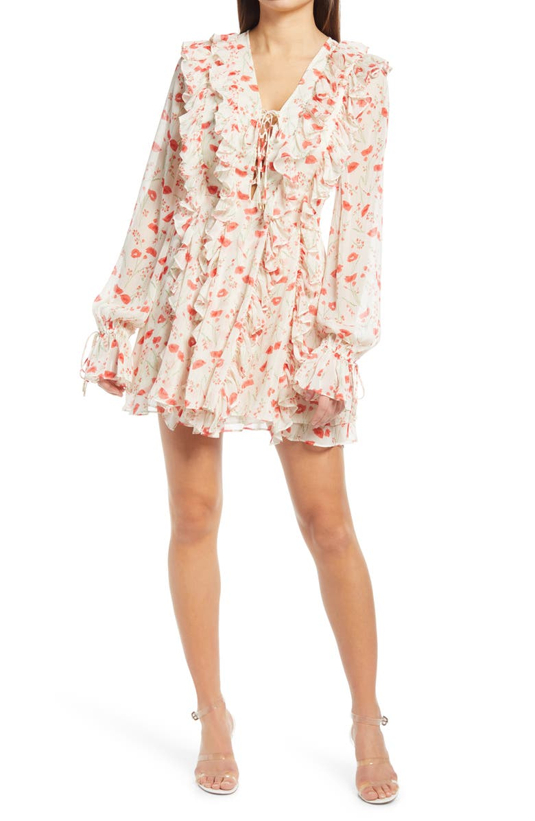 ENDLESS ROSE Floral Ruffle Long Sleeve Dress, Main, color, IVORY MULTI