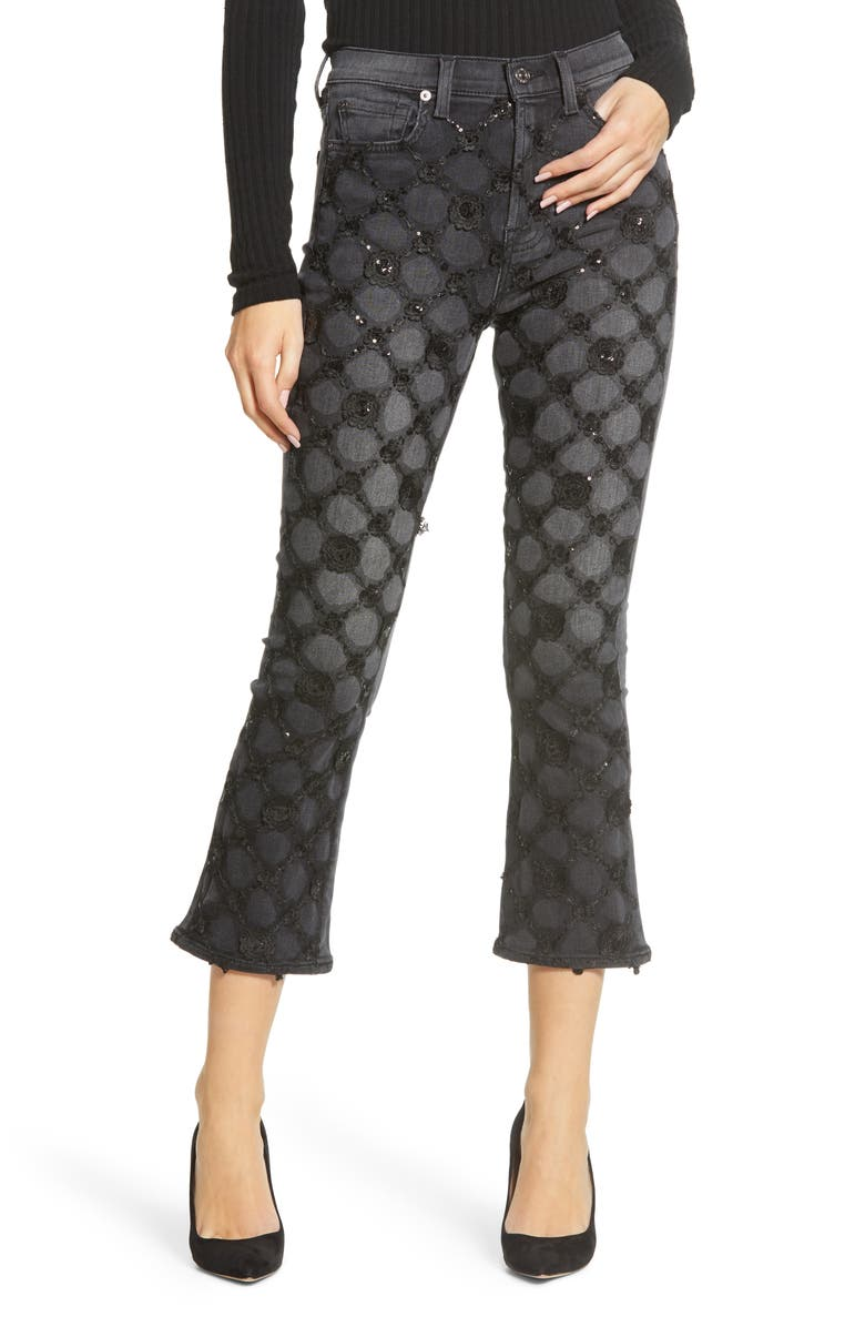 7 FOR ALL MANKIND<SUP>®</SUP> High Waist Slim Fit Crop Kick Jeans, Main, color, LUXE VINTAGE COAL/ LATTICE