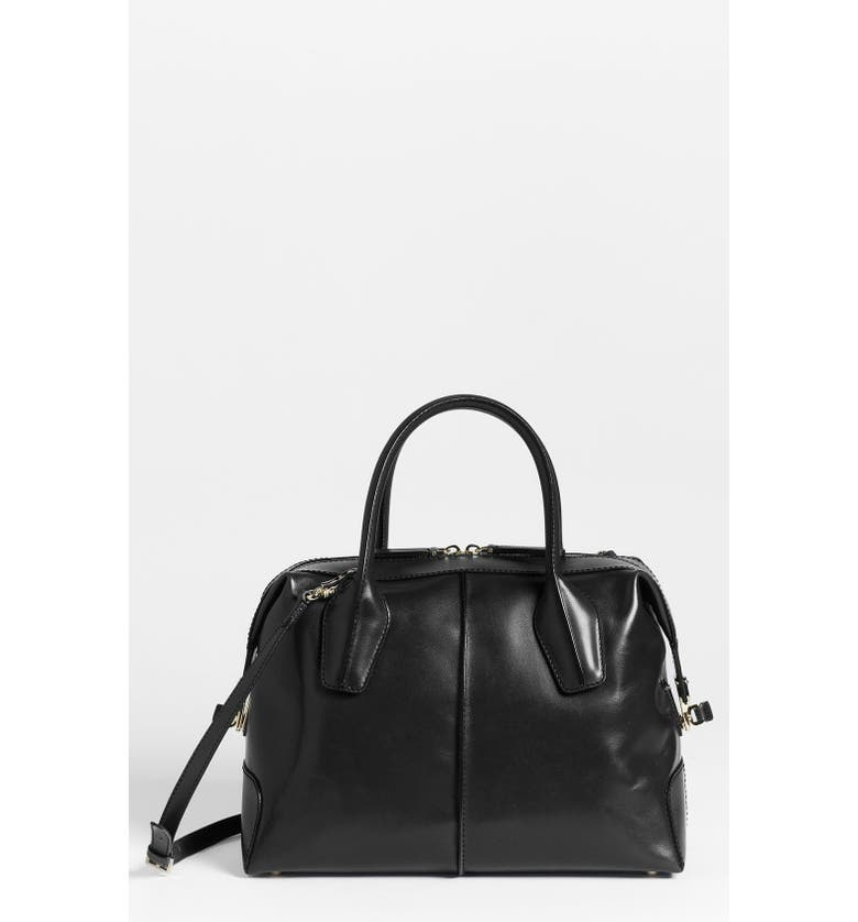 TOD'S 'D-Styling - Small' Leather Satchel, Main, color, 001