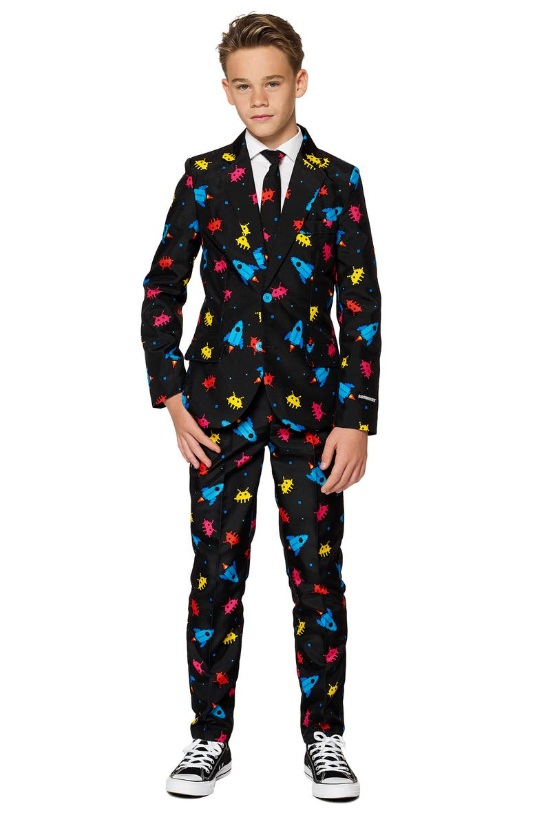 SUITMEISTER Kids' Video Game Arcade Two-Piece Suit with Tie, Main, color, BLACK MULTI