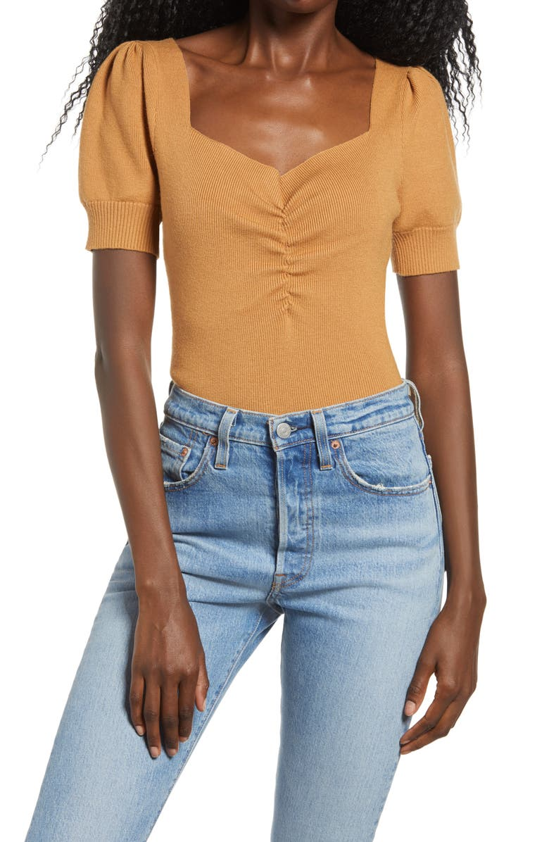 ENDLESS ROSE Ruched Front Top, Main, color, Brown