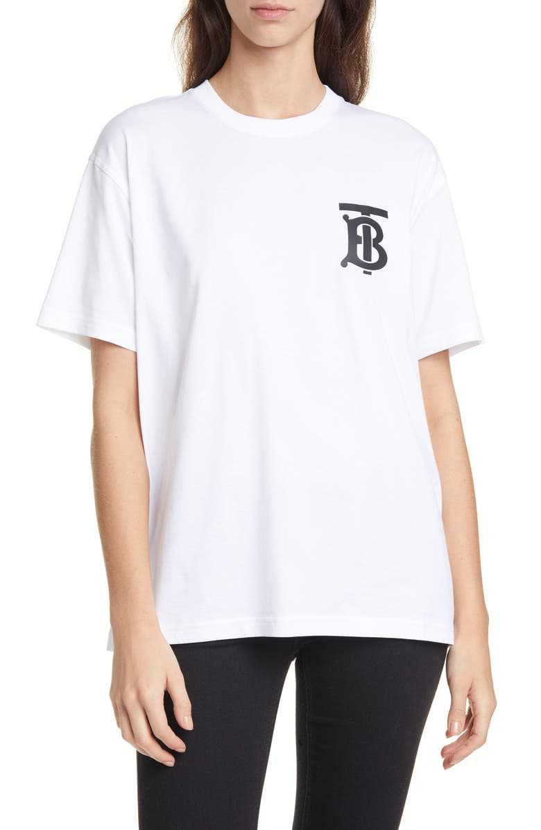BURBERRY Emerson Monogram Logo Tee, Main, color, WHITE
