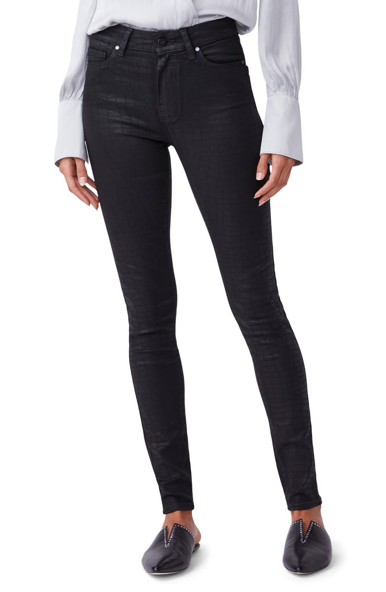 PAIGE Hoxton High Waist Ultra Skinny Jeans, Main, color, BLACK CROC LUXE COATING