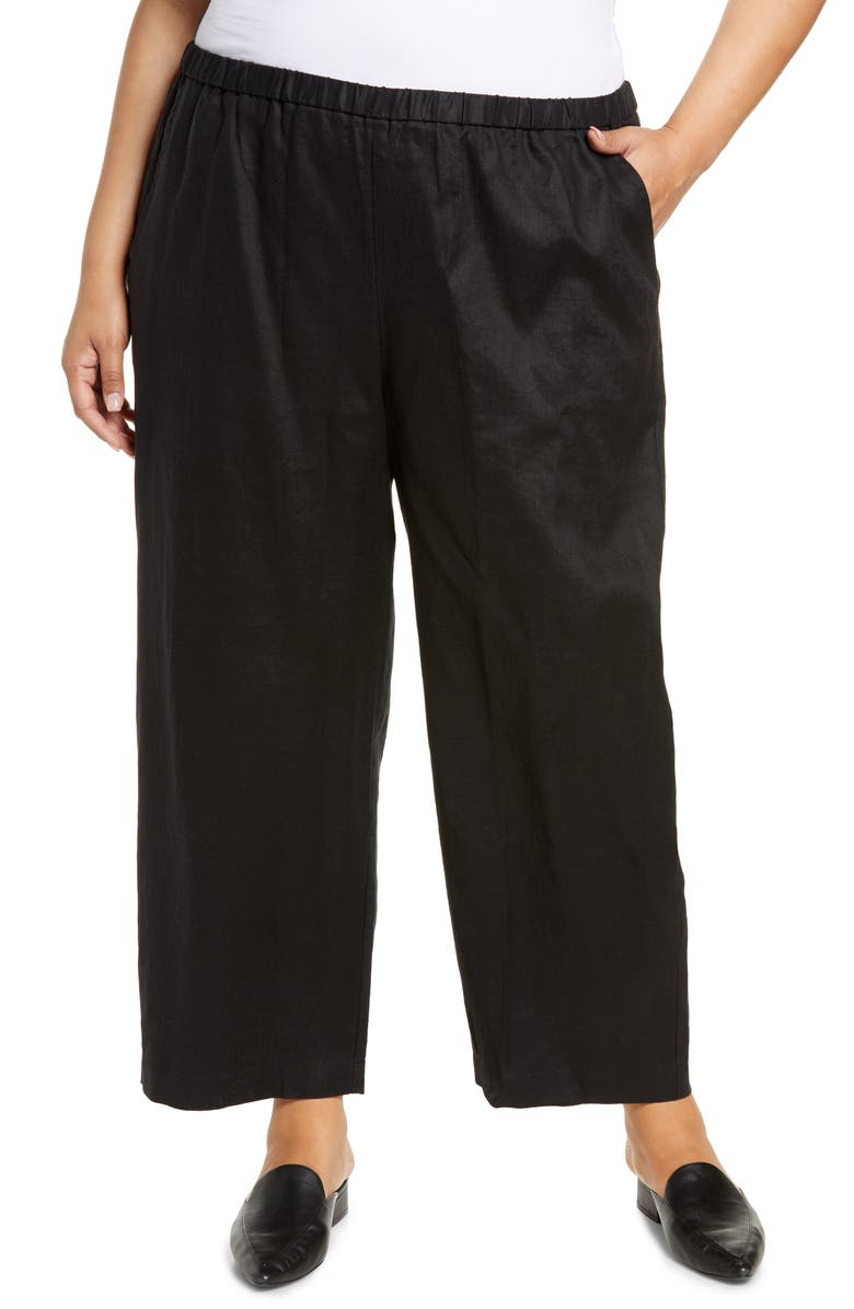 EILEEN FISHER Ankle Pants, Main, color, BLACK