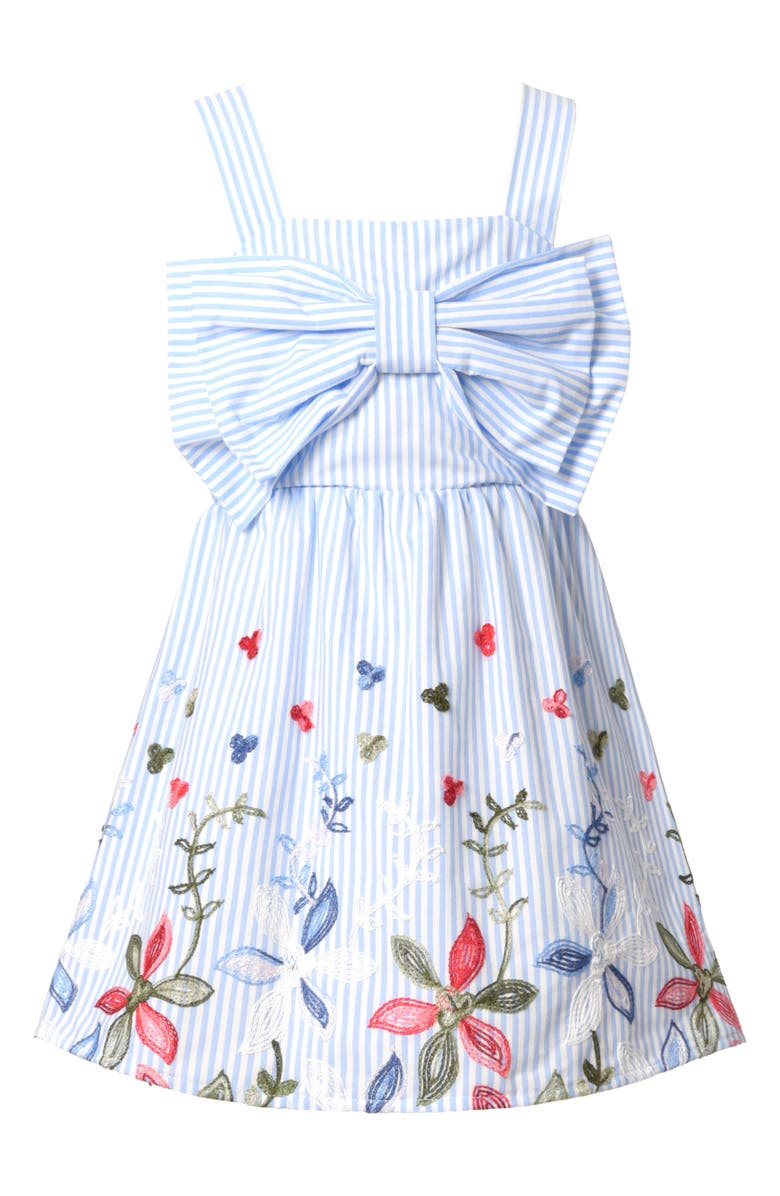 TRULY ME Kids' Embroidered Bow Babydoll Dress, Main, color, BLUE