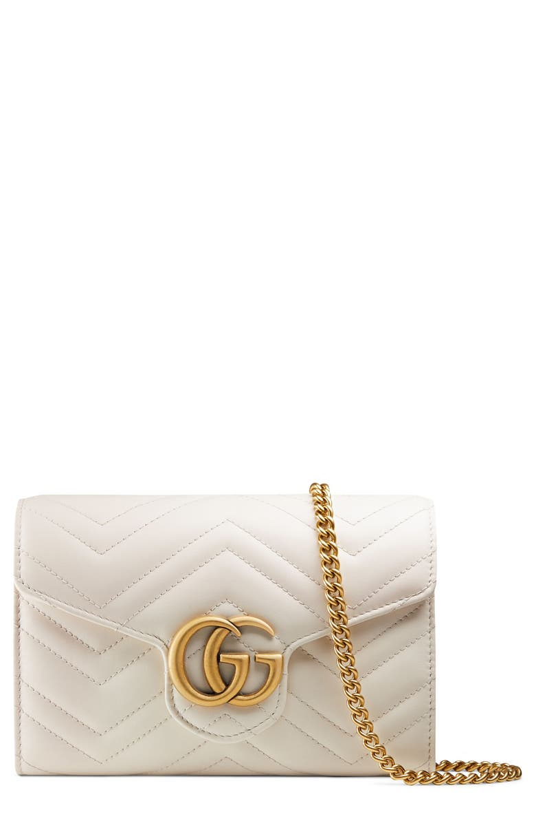 GUCCI GG Matelassé Leather Wallet on a Chain, Main, color, 100