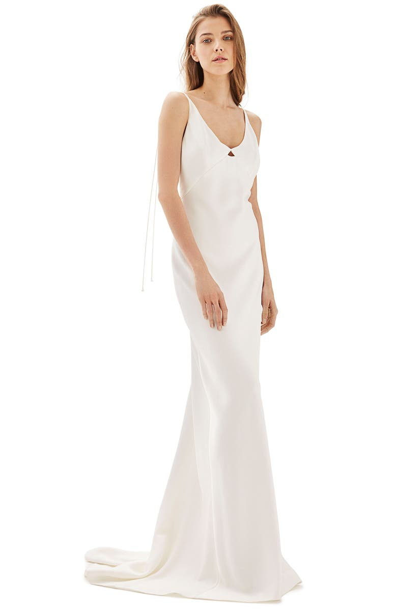 TOPSHOP Bride V-Neck Satin Sheath Gown, Main, color, 900