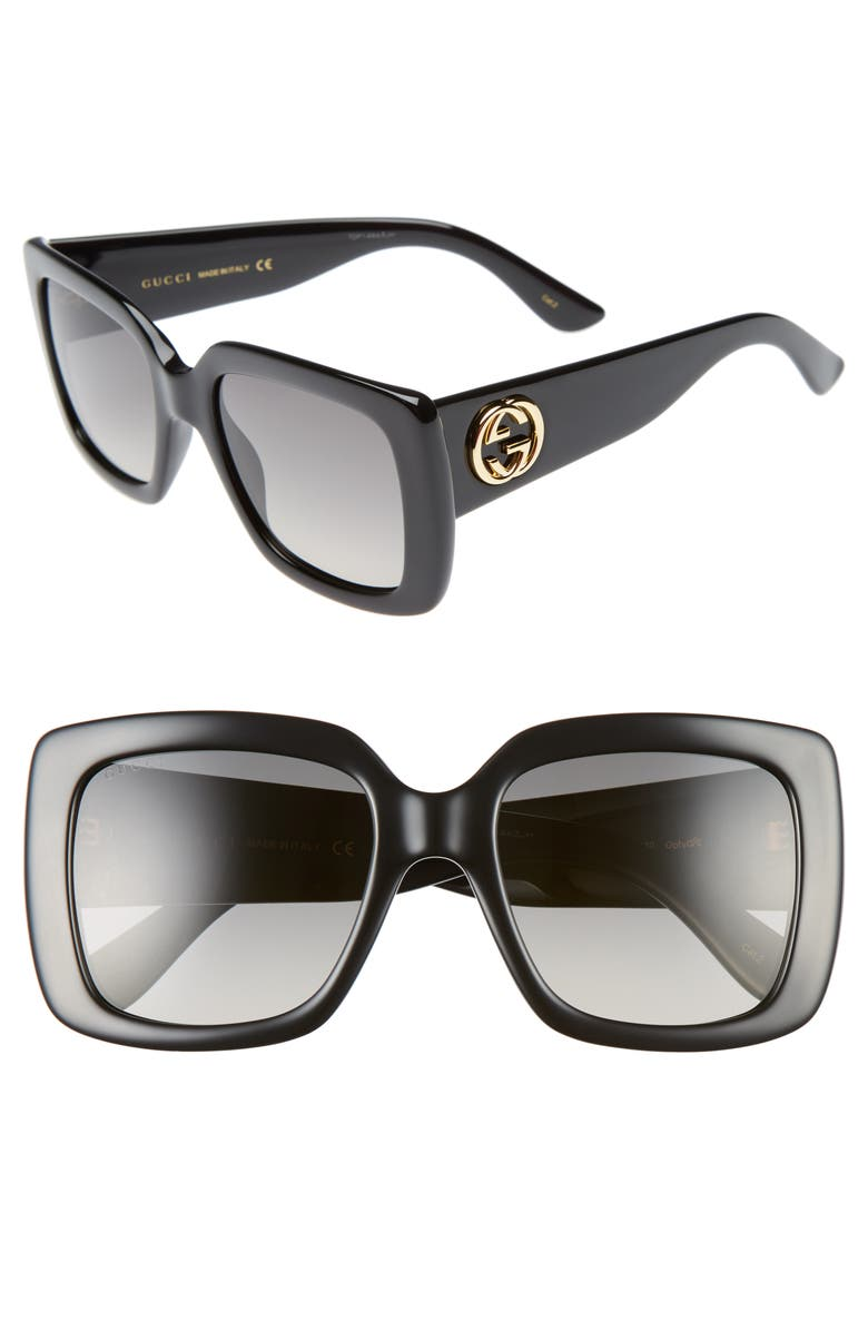 GUCCI 53mm Square Sunglasses, Main, color, 001