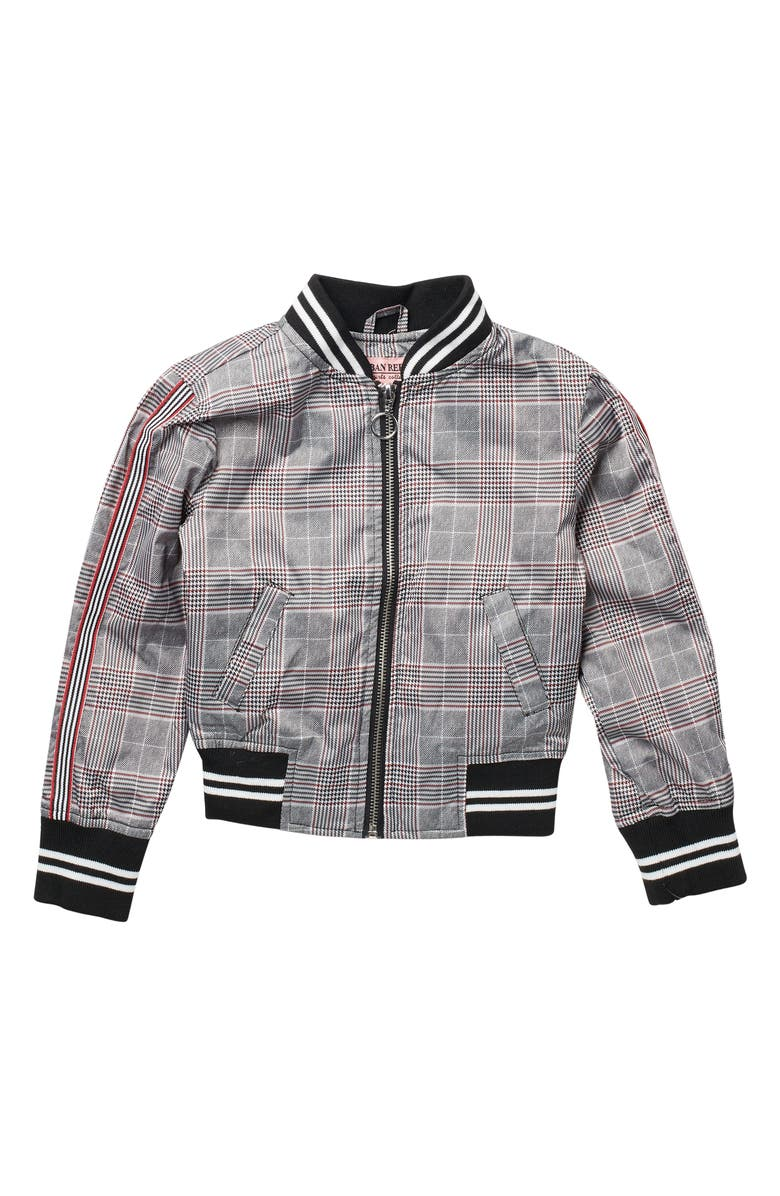 URBAN REPUBLIC Printed Sateen Bomber Jacket, Main, color, RED PLAID