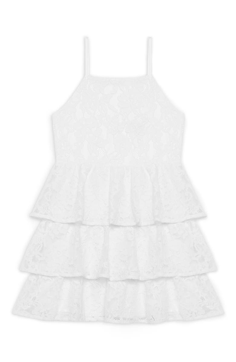 BARDOT Junior Cartia Tiered Lace Dress, Main, color, 900