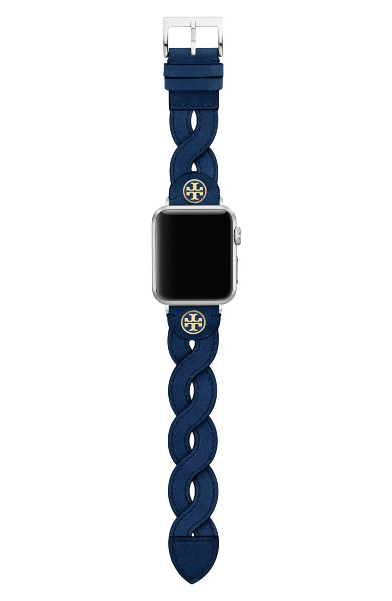 TORY BURCH Braided Leather Apple Watch<sup>®</sup> Strap, Main, color, NAVY