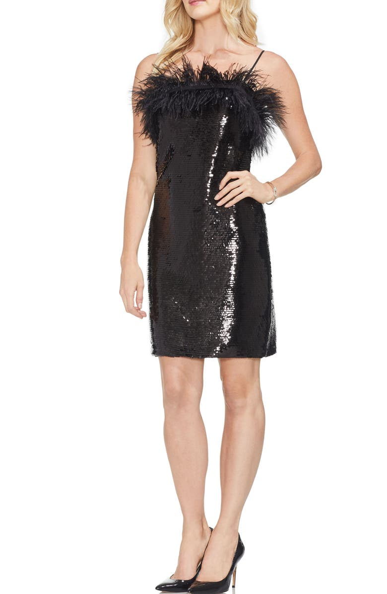 VINCE CAMUTO Feather Detail Sequin Dress, Main, color, 006