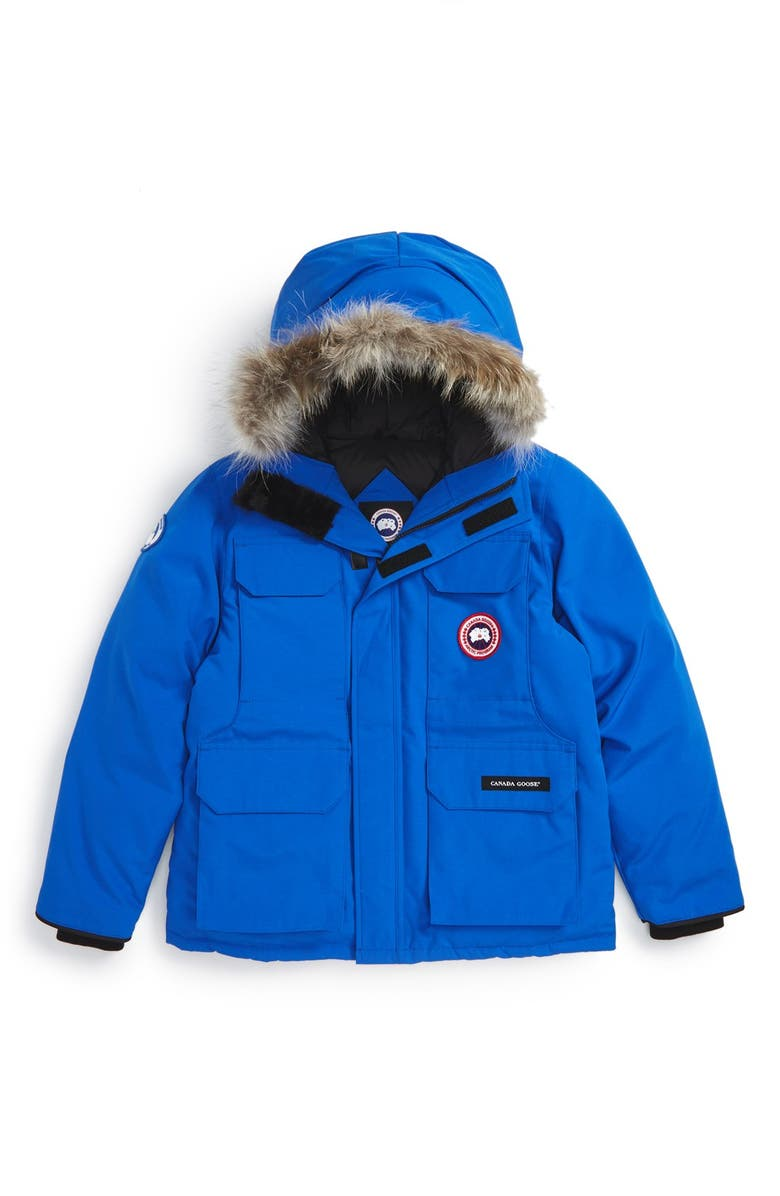 CANADA GOOSE PBI Expedition Waterproof Down Parka with Genuine Coyote Fur Trim, Main, color, ROYAL BLUE