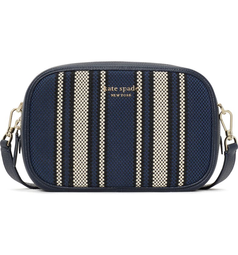 KATE SPADE NEW YORK medium stripe canvas camera bag, Main, color, BLAZER BLUE MULTI
