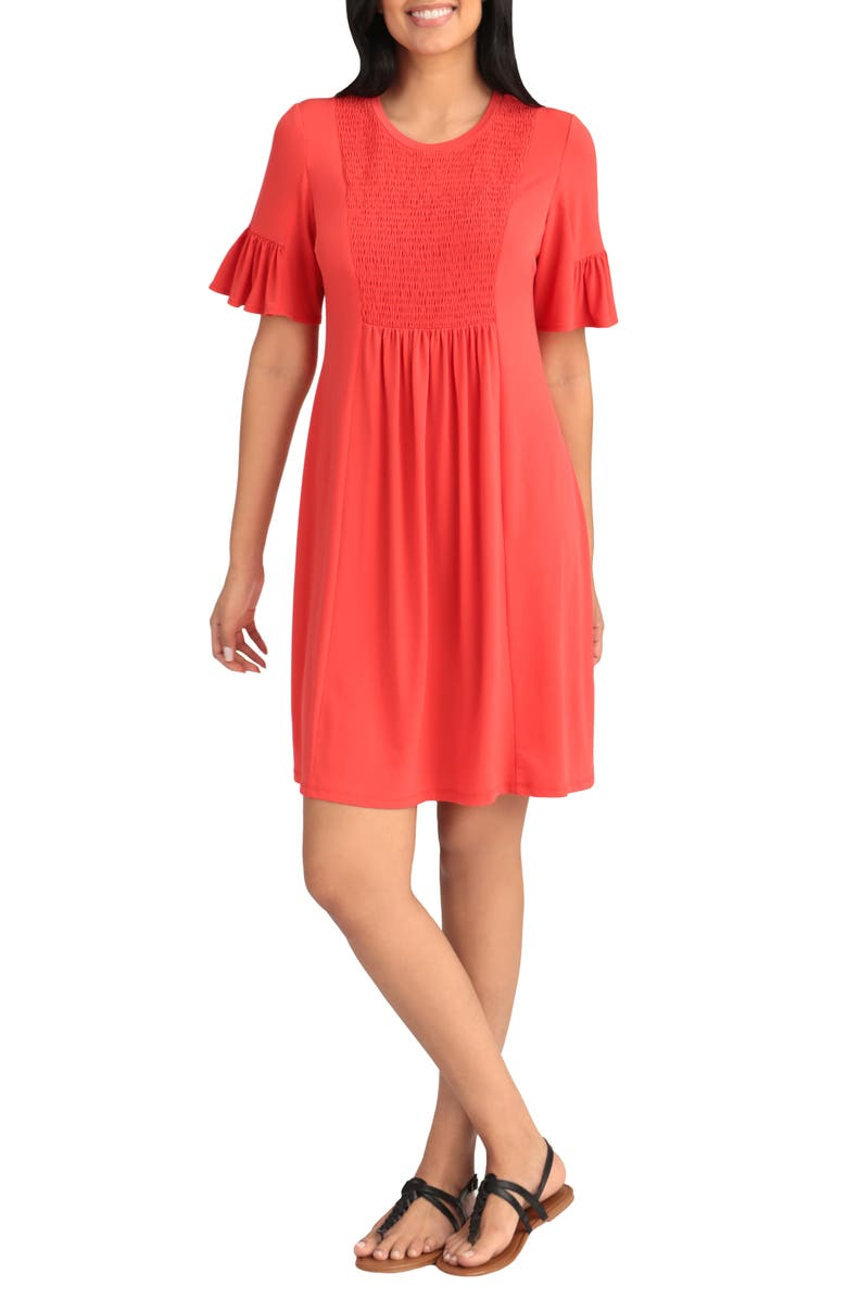 LONDON TIMES Smocked Ruffle Sleeve Jersey Shift Dress, Main, color, CORAL