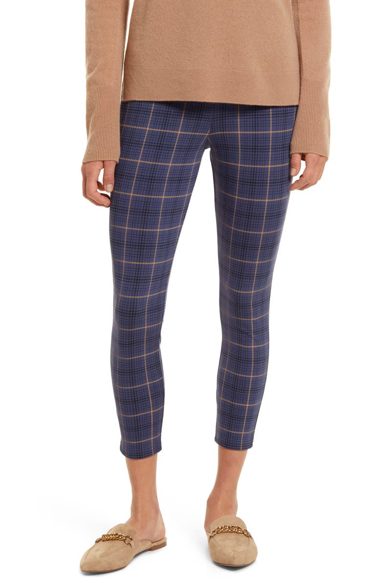 NORDSTROM Print Ponte Leggings, Main, color, NAVY CROWN IAN PLAID