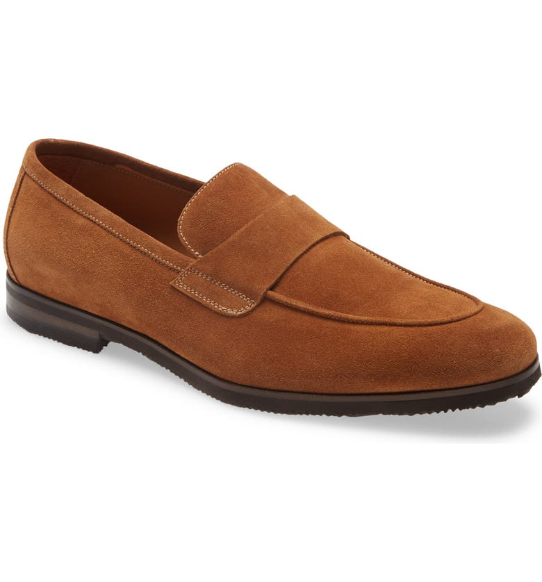 JOHNSTON & MURPHY Linford Apron Toe Loafer, Main, color, SNUFF SUEDE