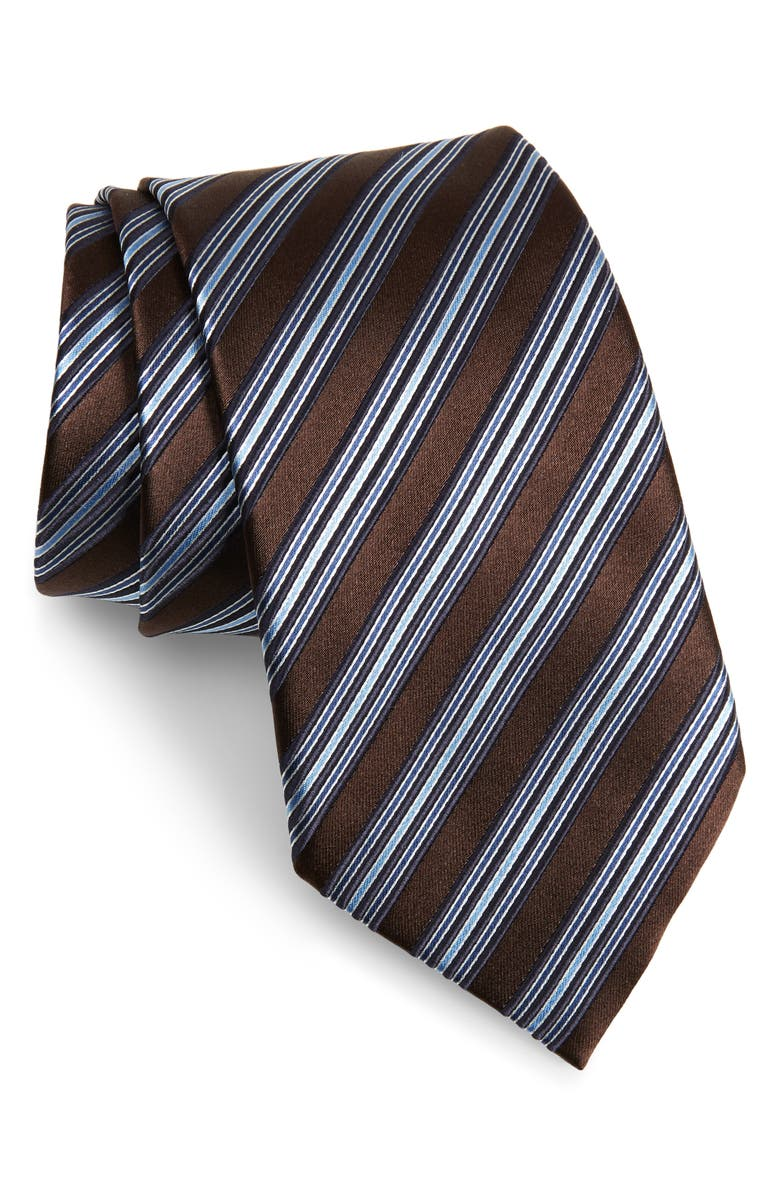 ERMENEGILDO ZEGNA Stripe Silk Tie, Main, color, 204