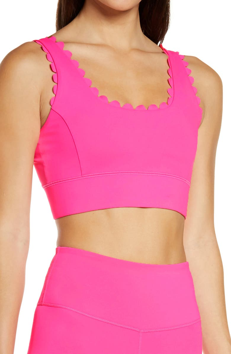 IVL COLLECTIVE Scallop Power Sports Bra, Main, color, NEON PINK