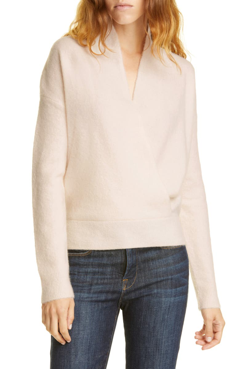 LEWIT Wrap Front Cashmere Blend Sweater, Main, color, 680