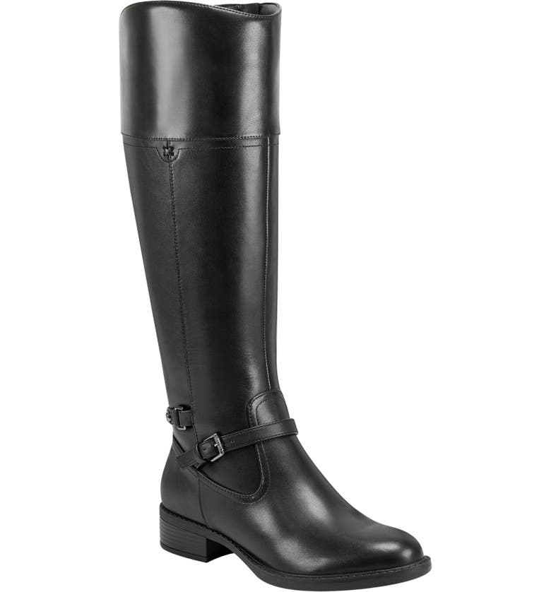 EASY SPIRIT Leigh Knee High Boot, Main, color, BLACK SUEDE