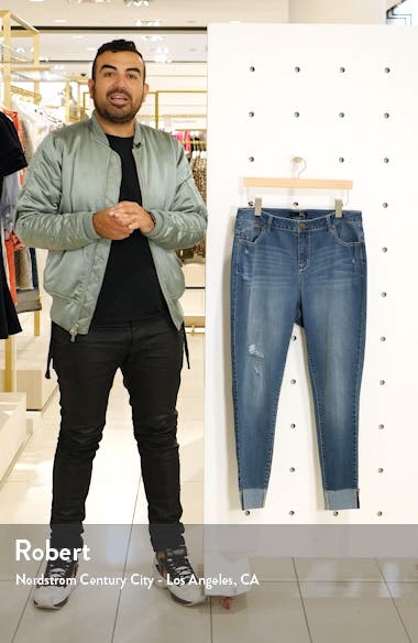 Distressed Roll Ankle Jeggings, sales video thumbnail