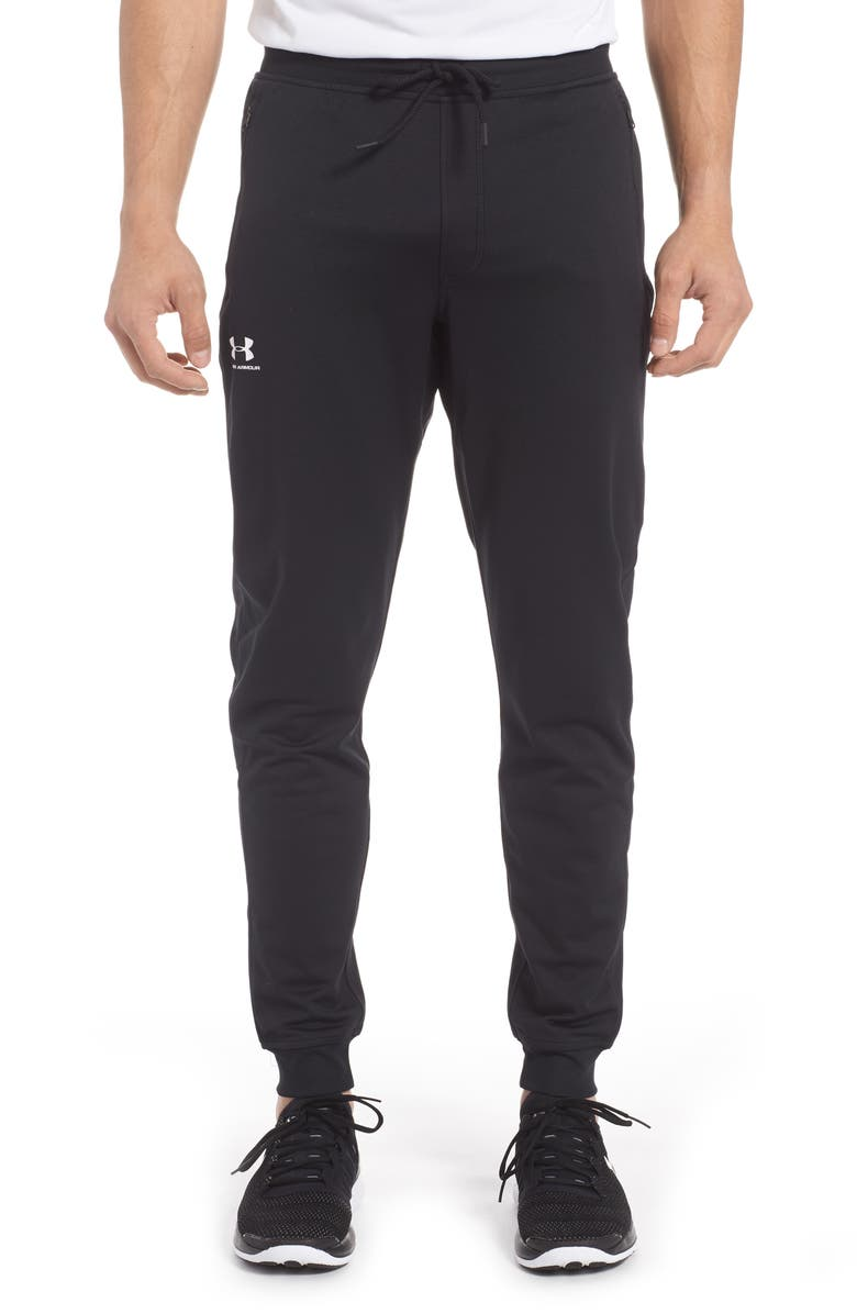 UNDER ARMOUR Sportstyle Zip Pocket Knit Joggers, Main, color, BLACK/ WHITE