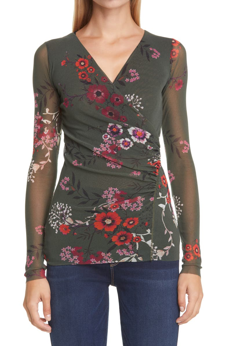 FUZZI Floral Ruched Long Sleeve Top, Main, color, FLECE