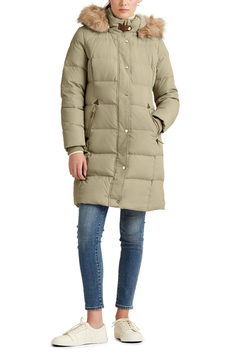 LAUREN RALPH LAUREN Faux Fur Trim Down Puffer Coat, Main, color, NEW SAGE