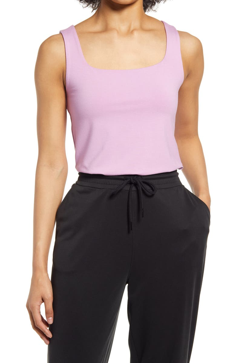 HALOGEN<SUP>®</SUP> Square Neck Tank, Main, color, PINK GALE