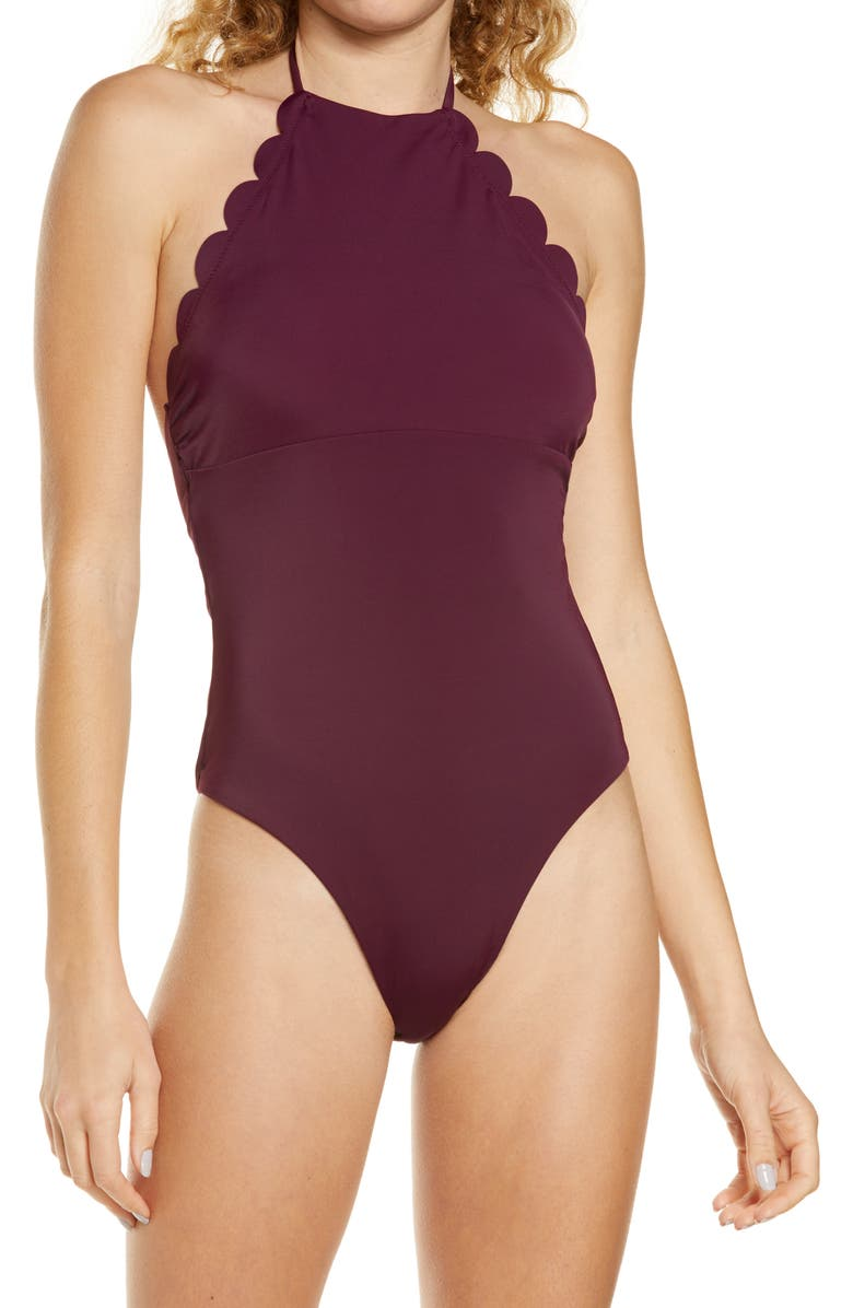 CHELSEA28 High Neck Scalloped One-Piece Swimsuit, Main, color, PURPLE NECTAR