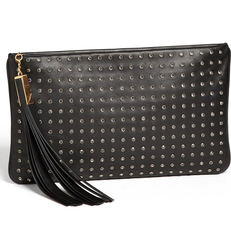 B BRIAN ATWOOD 'Lana - Medium' Clutch, Main, color, BLACK LEATHER/ CRYSTALS
