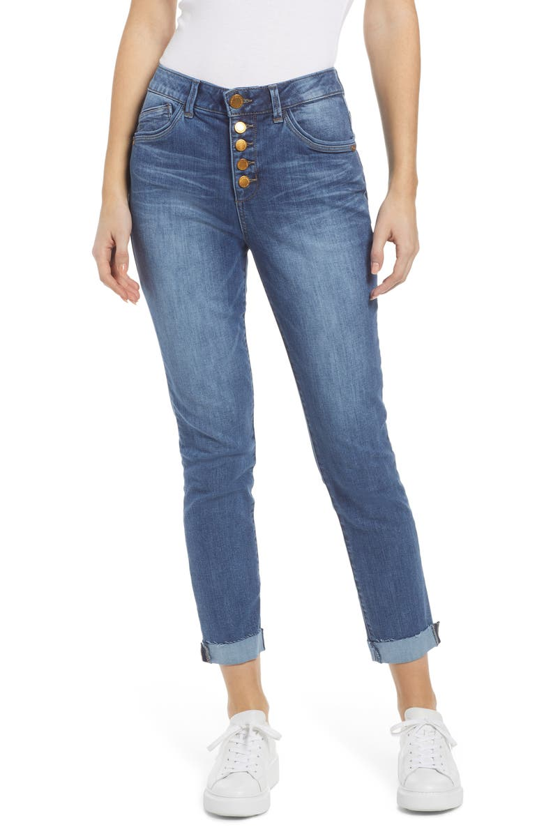 WIT & WISDOM Ab-Solution High Waist Ankle Straight Leg Jeans, Main, color, BLUE