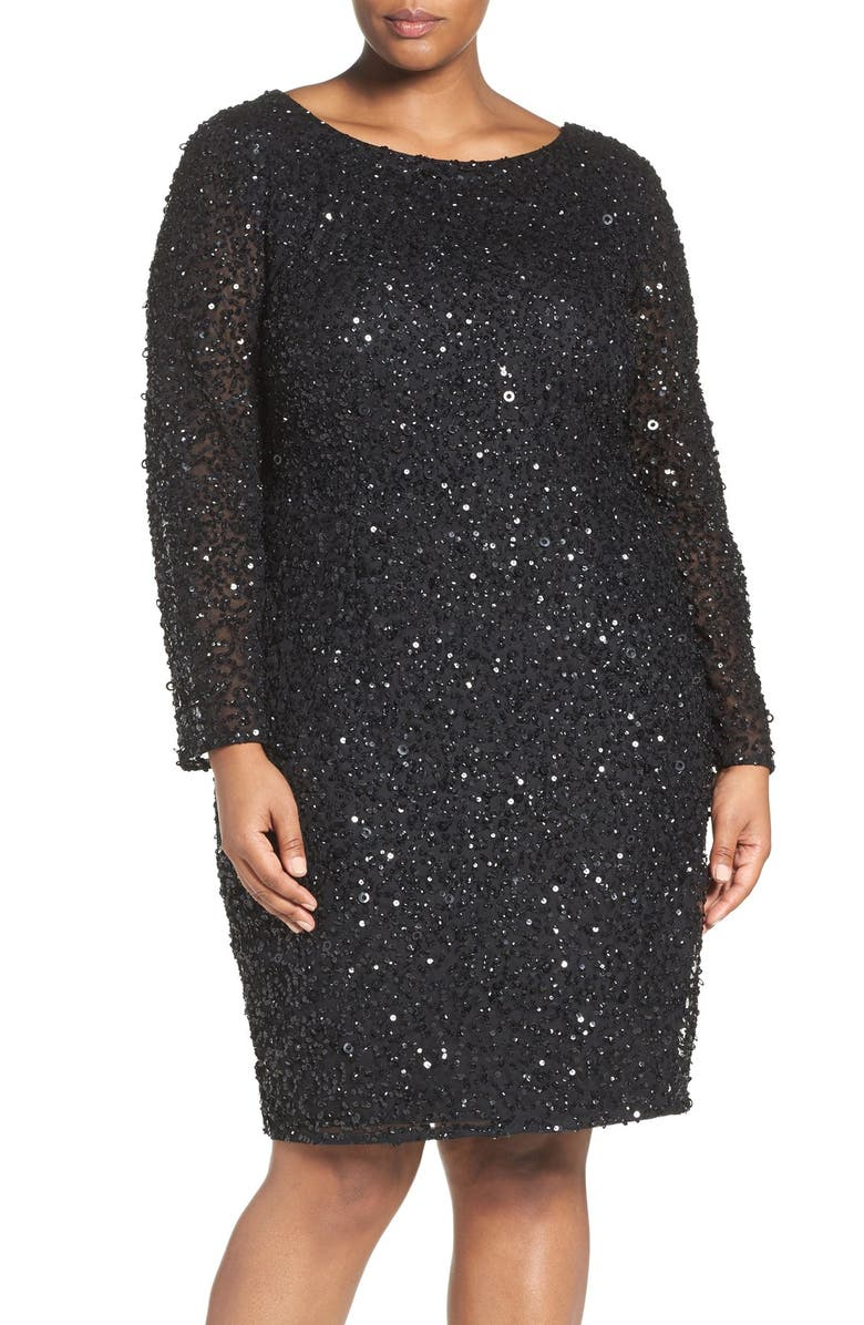 ADRIANNA PAPELL Embellished Scoop Back Cocktail Dress, Main, color, 001