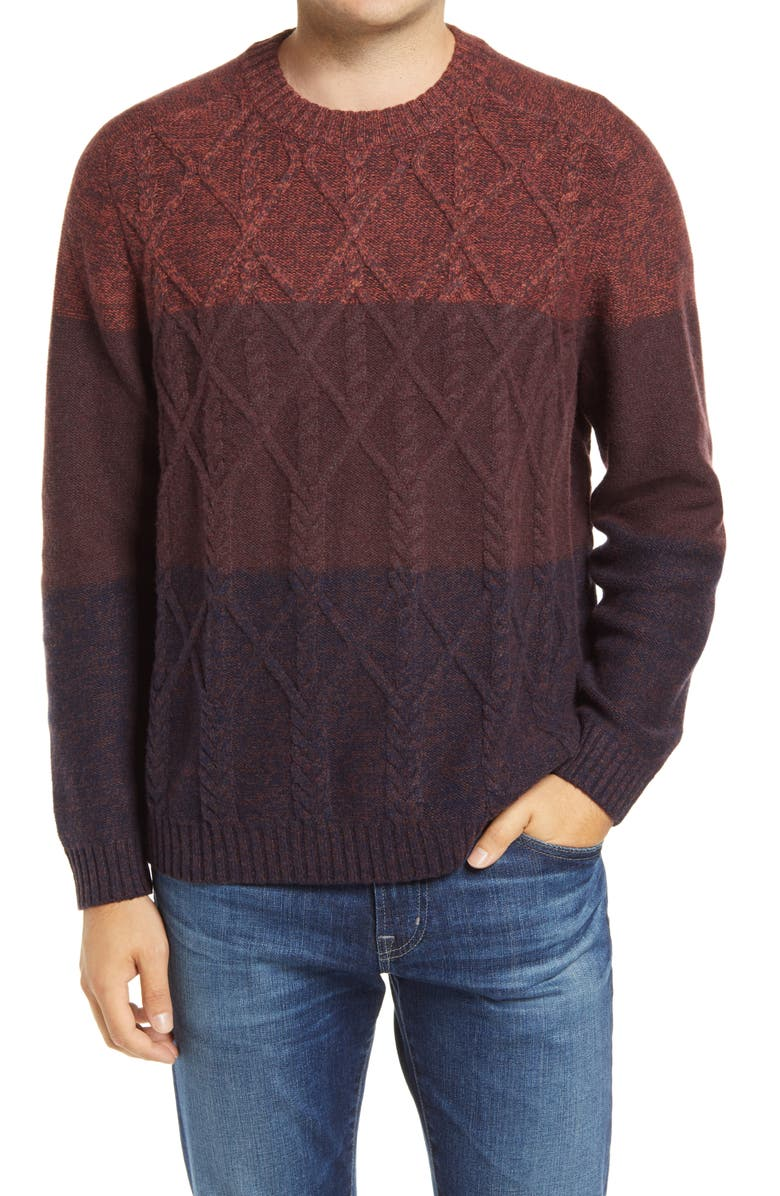 TOMMY BAHAMA Ocean Crewneck Colorblock Wool Blend Sweater, Main, color, CHERRY STONE