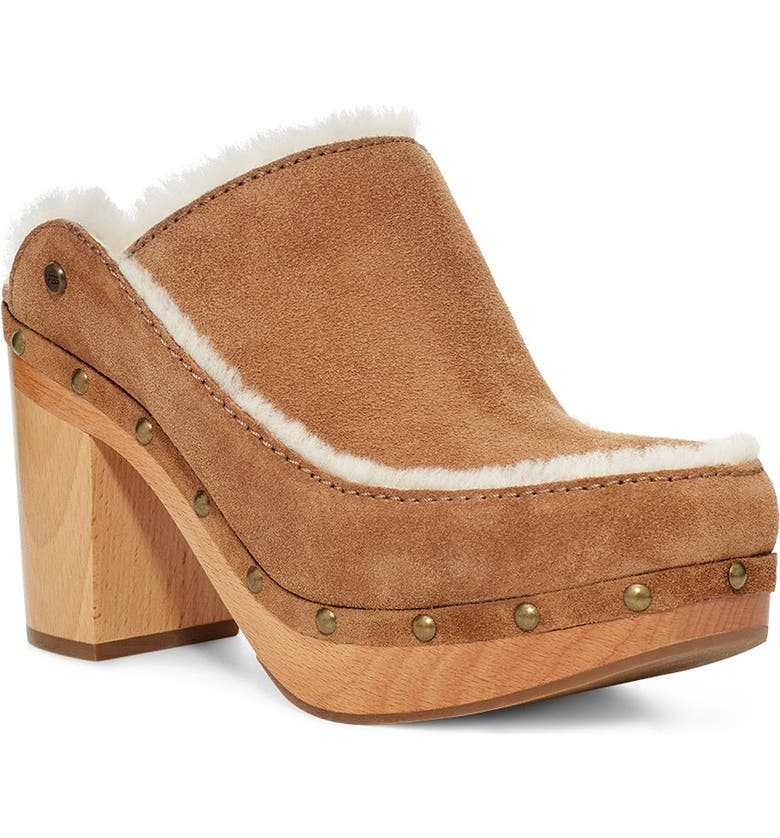 UGG<SUP>®</SUP> Aubriana Clog, Main, color, CHESTNUT SUEDE