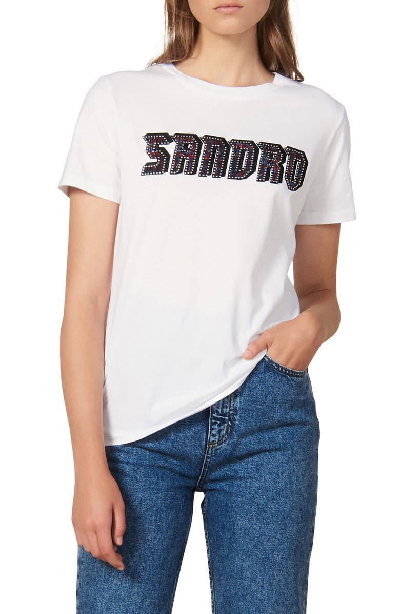 SANDRO Chella Embellished Graphic Crewneck Tee, Main, color, 100