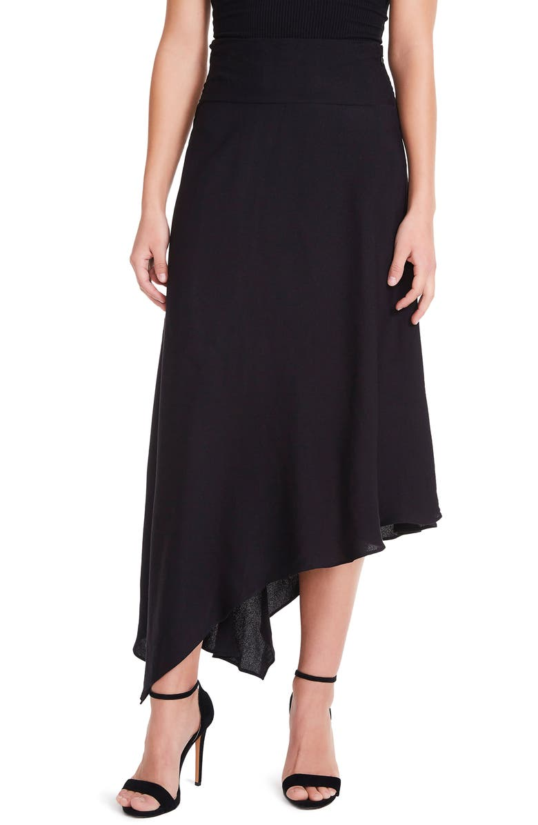 AFRM Pavia Asymmetrical Midi Skirt, Main, color, 001