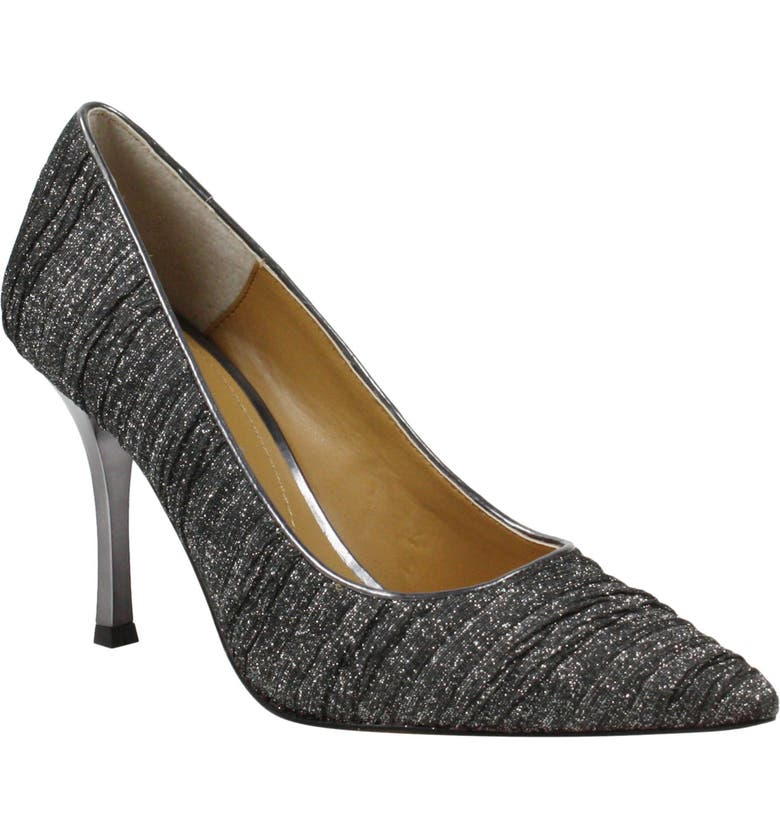 J. RENEÉ Ginesia Crystal Embellished Pointed Toe Pump, Main, color, PEWTER GLITTER FABRIC