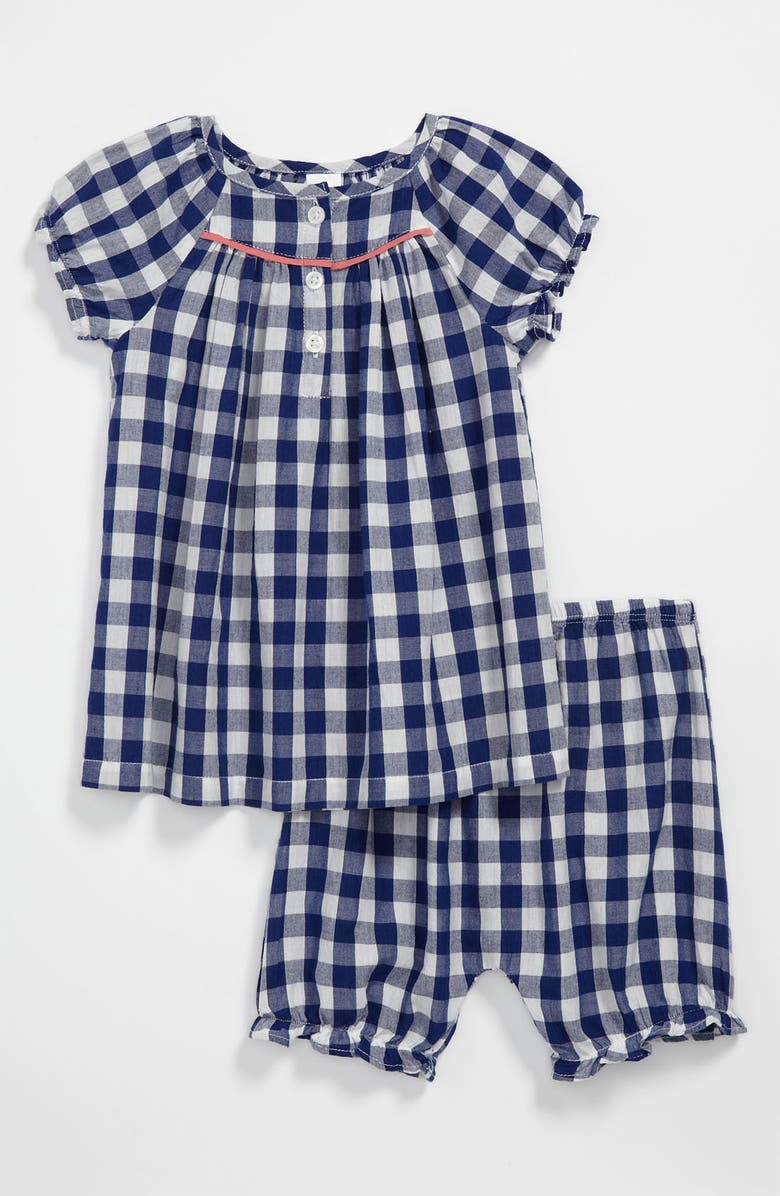 NORDSTROM BABY Blouse & Bloomers, Main, color, BLUE CHECK