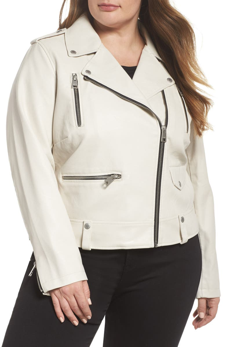 LEVI'S<SUP>®</SUP> Lamb Touch Faux Leather Moto Jacket, Main, color, OYSTER