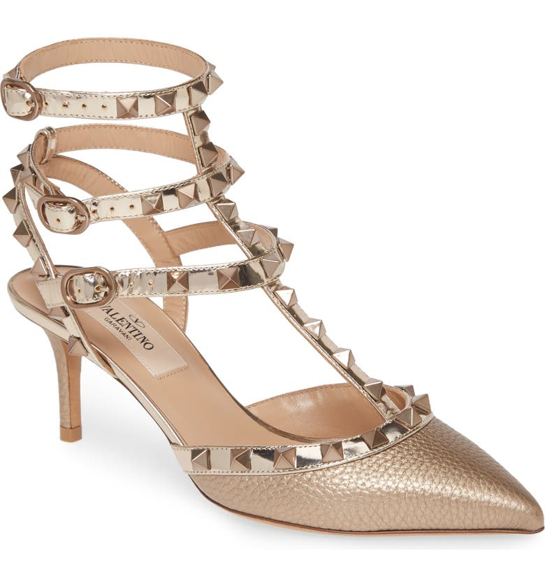 VALENTINO GARAVANI Rockstud T-Strap Pointed Toe Pump, Main, color, GOLD