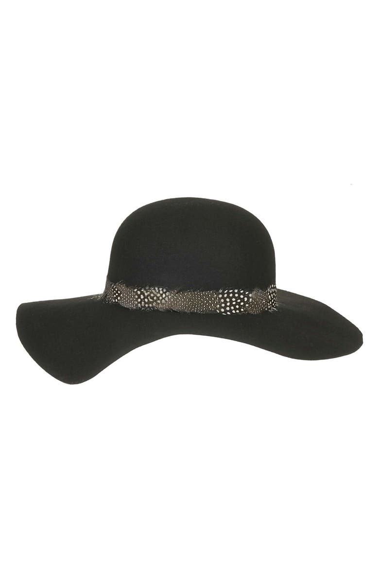TOPSHOP Feather Band Floppy Hat, Main, color, 001