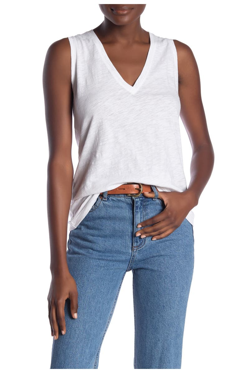 MADEWELL V-Neck Knit Tank Top, Main, color, FIG
