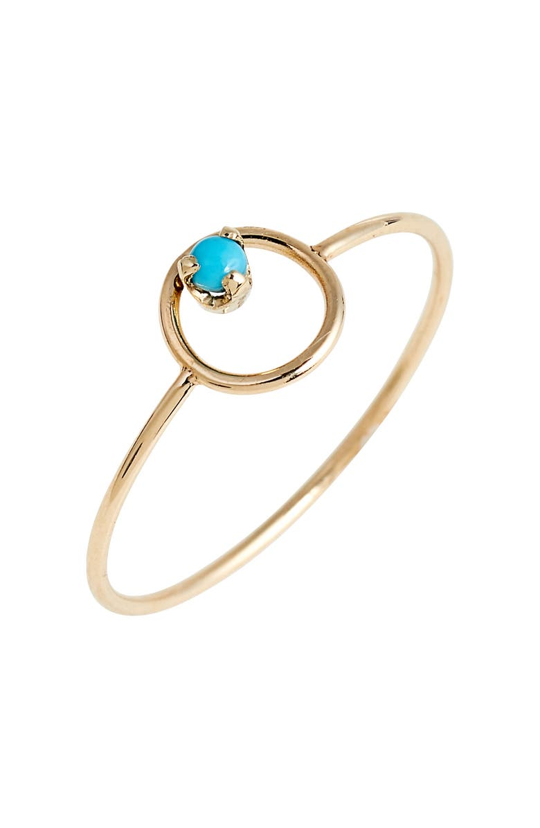 ZOË CHICCO Turquoise Circle Ring, Main, color, YELLOW GOLD/ TURQUOISE