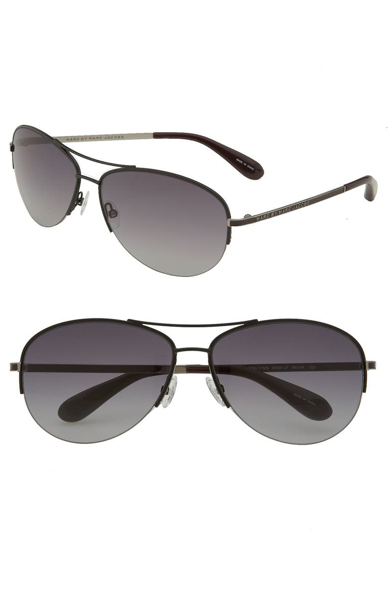 MARC BY MARC JACOBS 59mm Rimless Aviator Sunglasses, Main, color, 001