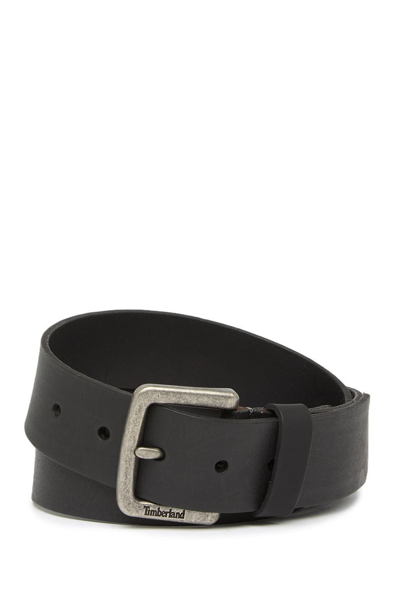TIMBERLAND Square Buckle Leather Belt, Main, color, BLACK