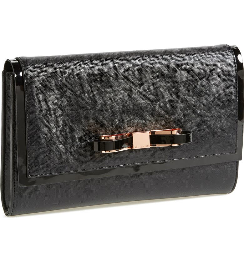TED BAKER LONDON 'Bow' Clutch, Main, color, Black