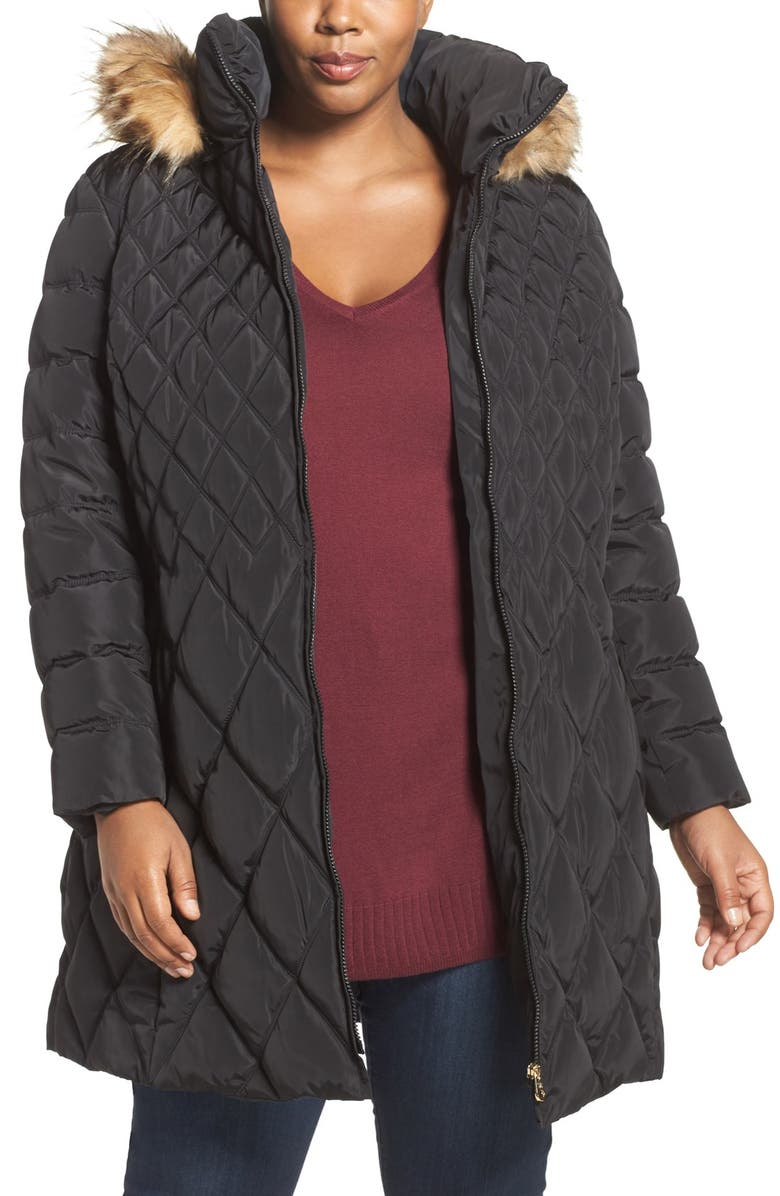 JESSICA SIMPSON Quilted Puffer Coat with Faux Fur Trim, Main, color, 001